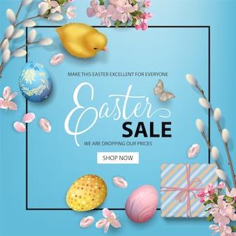 Wielkanocny baner świąteczny z kurczakiem, jajkami i gałązkami wierzby