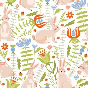 Wielkanocny bezszwowy wzór z królikami, kwiatami i liśćmi.