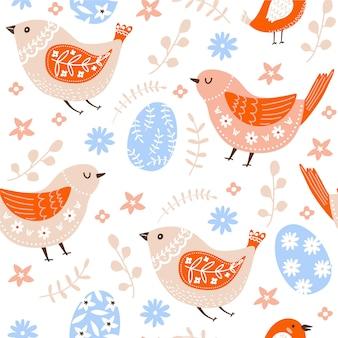 Wielkanocny bezszwowy wzór z ptakami, jajkami, kwiatami i liśćmi.