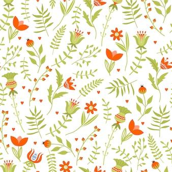 Wielkanocny bezszwowy wzór z różnorodnymi kwiatami i liśćmi.