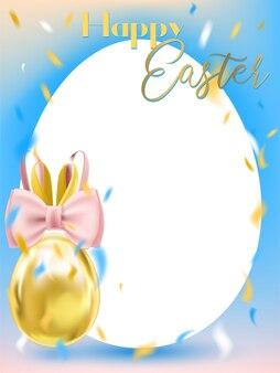 Wielkanocny Biały Jajko Z Królika łękiem I Biel Ramą Premium Wektorów