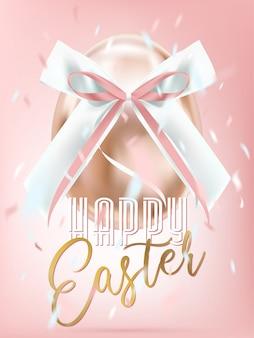 Wielkanocny Błyszczący Różowy Jajko Z Jedwabniczym łękiem W Confetti Premium Wektorów