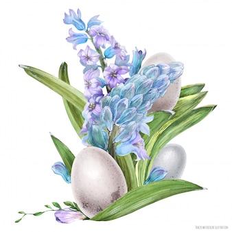 Wielkanocny bukiet akwarela z hiacyntowymi kwiatami i ptasimi jajkami