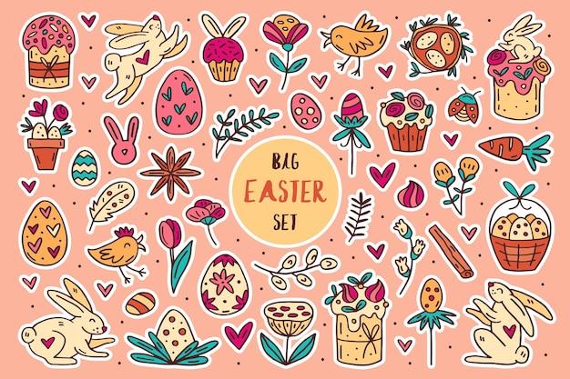 Wielkanocny doodle ręcznie rysowane zestaw elementów