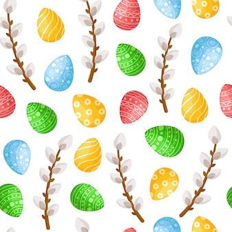 Wielkanocny dzień - bezszwowy wzór z easter jajkami, wierzby na białym tle