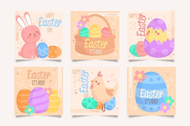Wielkanocny dzień instagram szablon kolekcji post