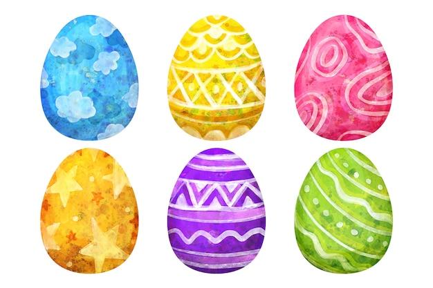 Wielkanocny dzień jajko kolekcja akwarela styl