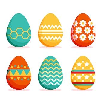 Wielkanocny dzień jajko kolekcja płaski styl
