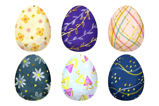 Wielkanocny dzień jajko zestaw akwarela