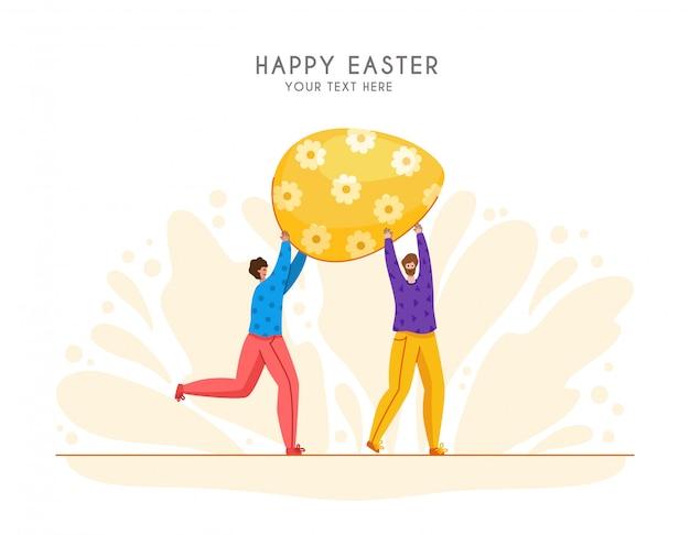 Wielkanocny dzień - miniaturowi ludzie dekorują gigantycznych easter jajka, grupa malutcy mężczyzna z makro- wiosna wakacje przedmiotem, pracy zespołowej pojęcie