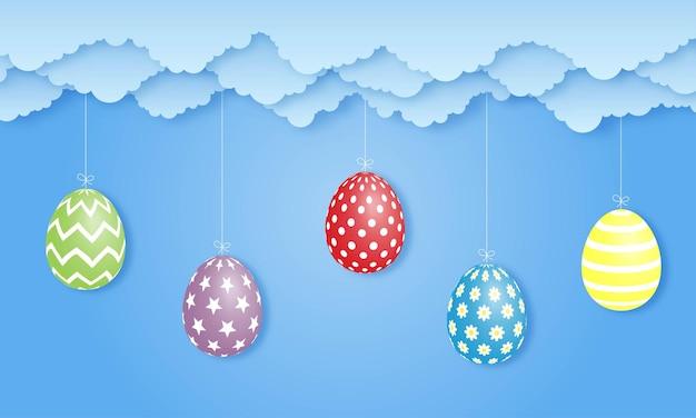 Wielkanocny dzień na niebiesko. styl sztuki papieru.