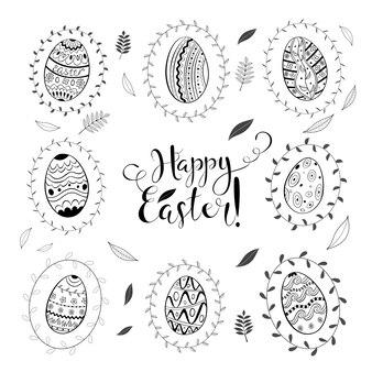 Wielkanocny dzień wiosny doodle ustawiający z jajkami i liśćmi