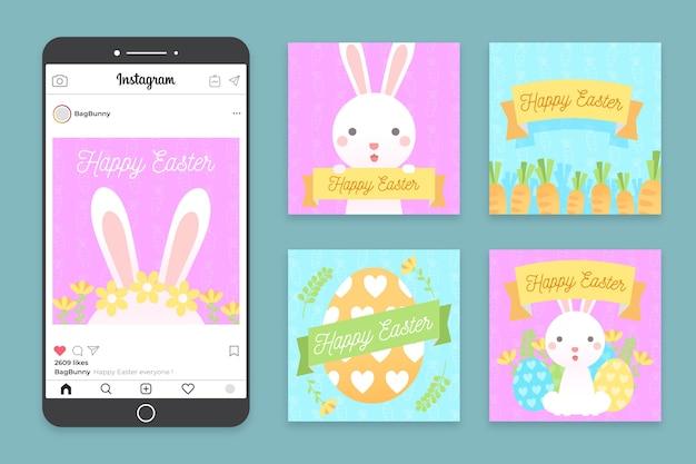 Wielkanocny ilustrowany pakiet postów na instagramie