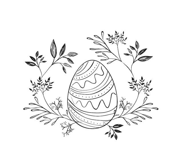 Wielkanocny jajko otaczający gałąź w monochromatycznej sylwetce