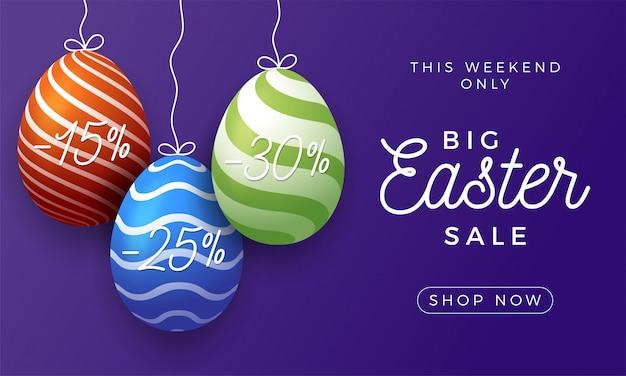 Wielkanocny jajko sprzedaż poziomy baner.