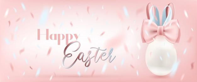 Wielkanocny jajko z królika jedwabniczym łękiem i confetti