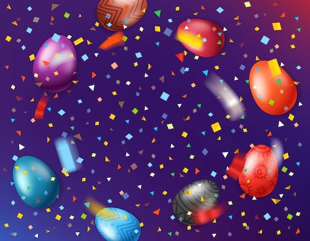 Wielkanocny kartka z pozdrowieniami z kolorów jajkami i spada konfetti. ilustracji wektorowych