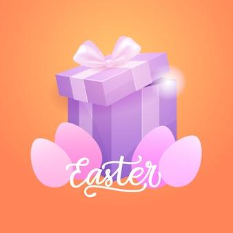 Wielkanocny kartkę z życzeniami z jajkami i pudełkiem