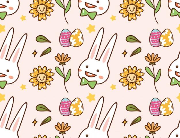 Wielkanocny kawaii tło z królikiem, jajkiem i kwiatem