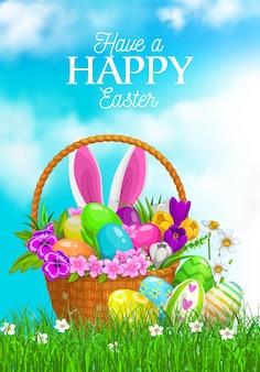 Wielkanocny koszyk do polowania na jajka z uszami królika