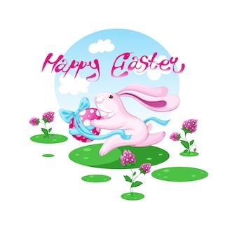Wielkanocny króliczek biegnie z malowanym jajkiem.