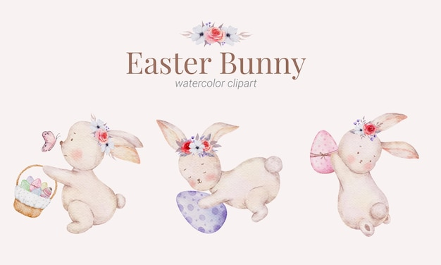 Wielkanocny króliczek kreskówka ręcznie malowana kolekcja akwareli