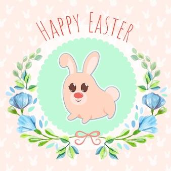 Wielkanocny królik akwareli tło