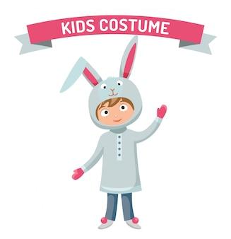 Wielkanocny królik chłopiec dzieciak kostiumowa wektorowa ilustracja