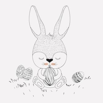 Wielkanocny królik i jajka w monochromatycznej sylwetce