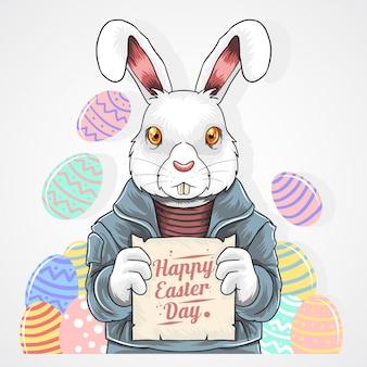 Wielkanocny królik jajka hipster punk rock