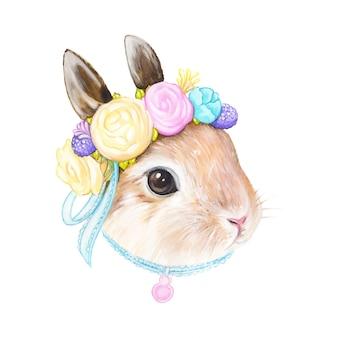 Wielkanocny królik, romans, walentynki, akwareli ilustracja