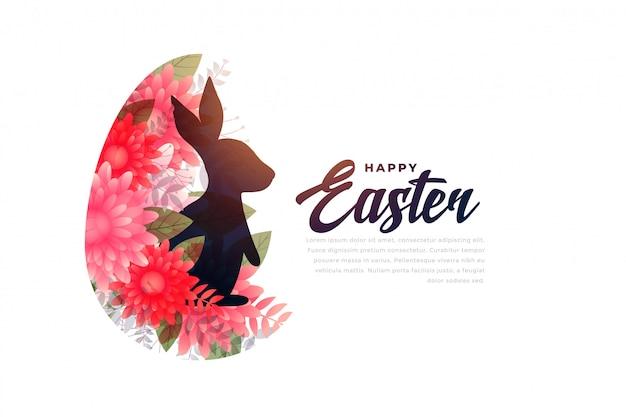 Wielkanocny królik w kwiatu festiwalu tle