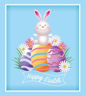 Wielkanocny królik z dekoracjami jaj