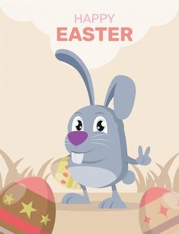 Wielkanocny królika królik z realistycznym dużym jajkiem.