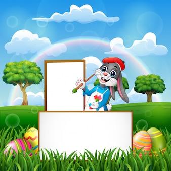 Wielkanocny królika obraz w pustej desce