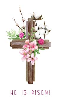 Wielkanocny krzyż chrześcijański z kwiatami, gałązką wierzby i bawełny, dekoracje wielkanocne, ręcznie rysowane akwarela ilustracja