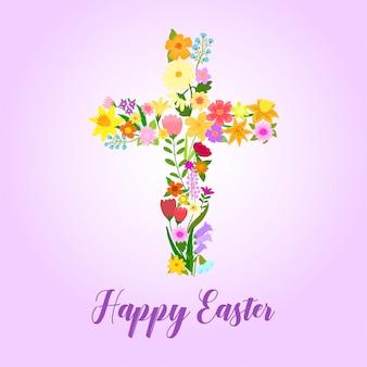 Wielkanocny krzyż ozdobiony kwiatami