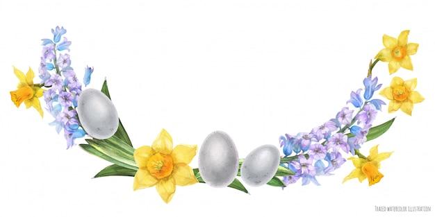 Wielkanocny łuk akwareli z kwiatami hiacyntu i żonkila oraz ptasimi jajami