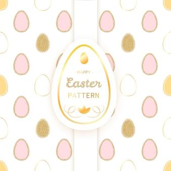 Wielkanocny luksusowy bezszwowy wzór z błyskotliwości złotymi jajkami