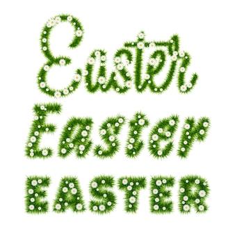 Wielkanocny napis szablon z trawą i kwiatami. ilustracja wektorowa eps10