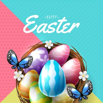 Wielkanocny plakat i szablon transparent z pisankami w gnieździe