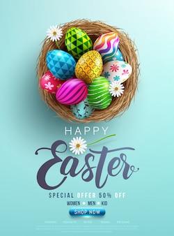 Wielkanocny plakat i szablon transparent z pisanki w gnieździe