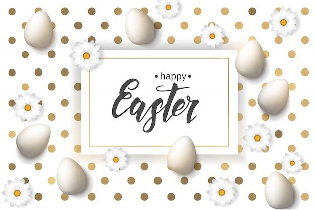 """Wielkanocny plakat z jajkami i rumiankiem, ręcznie robiony modny napis """"wesołych świąt"""" na wzorze złotych kropek."""