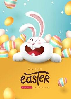Wielkanocny plakat z pozdrowieniami z uroczym królikiem i kolorowymi pisankami.