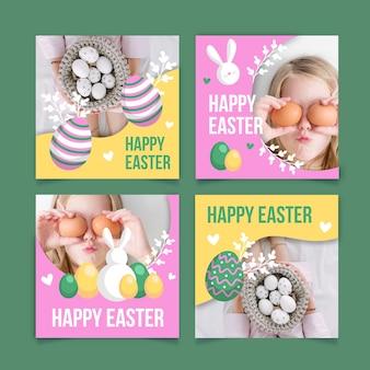 Wielkanocny post instagram post set