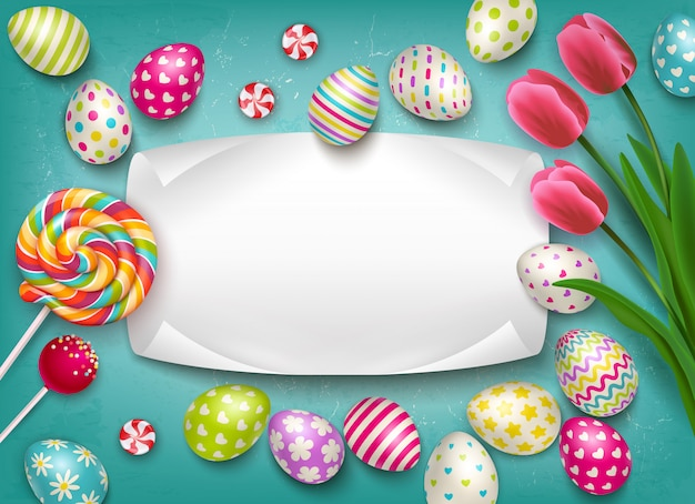 Wielkanocny skład z wizerunkami barwionych świątecznych jajek lizaka cukierki i kwiaty z pustą tekst ramy ilustracją