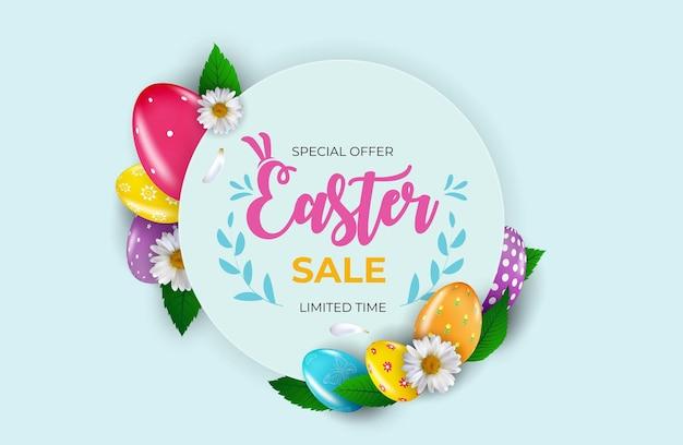 Wielkanocny sprzedaż plakat szablon z 3d realistycznymi pisankami