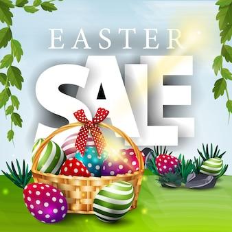 Wielkanocny sprzedaż sztandar z wiosna krajobrazem