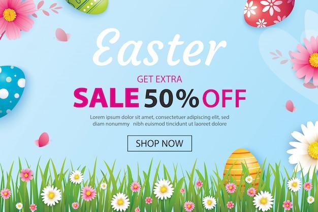 Wielkanocny sprzedaż sztandaru szablon z jajkami i kwiatem.