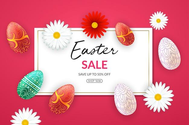 Wielkanocny sztandar sprzedaż z kolorowymi jajkami